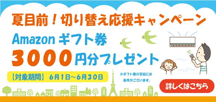 親指でんき【夏目前!切り替え応援キャンペーン】Amazonギフト券3,000円分プレゼント!