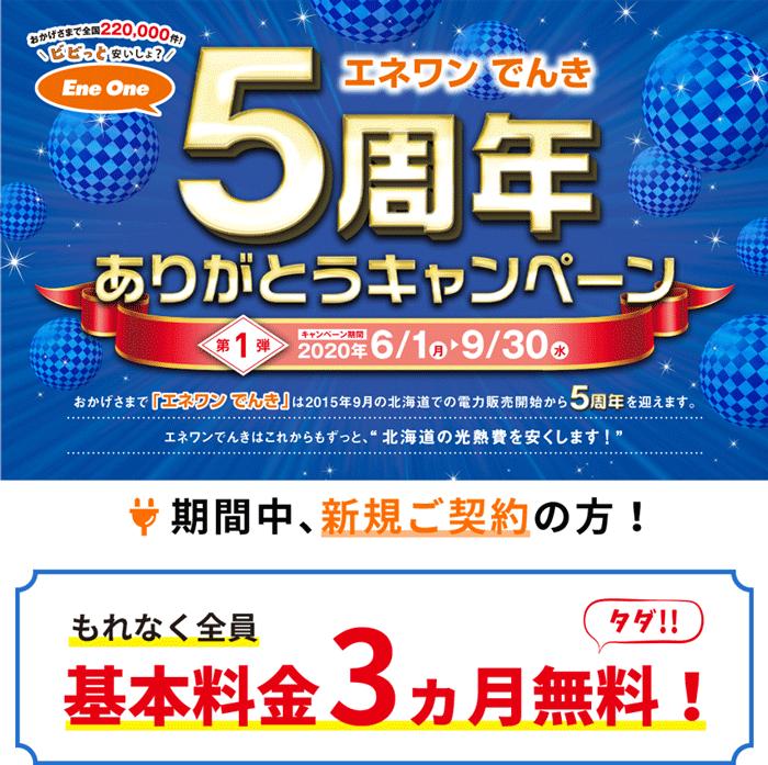 エネワンでんき北海道5周年ありがとうキャンペーン:基本料金3ヶ月無料!