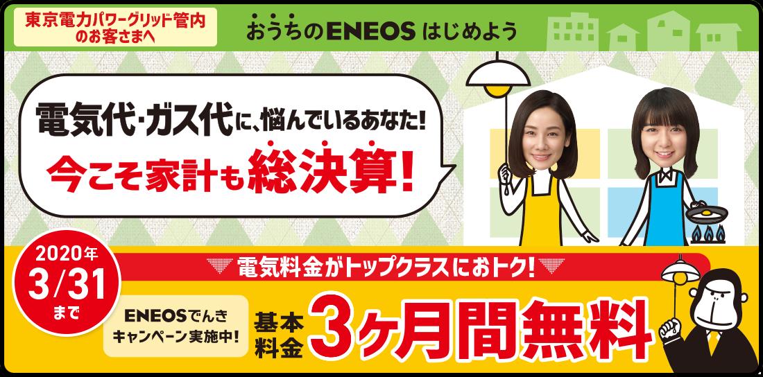ENEOSでんきキャンペーン「基本料金3ヶ月間無料」