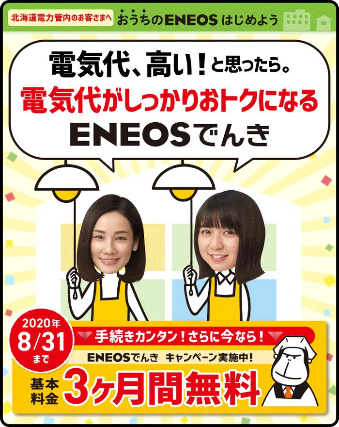 【北海道電力エリア限定】ENEOSでんきキャンペーン「基本料金3ヶ月間無料」