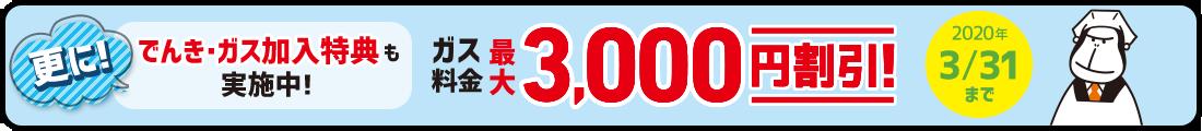 ENEOSでんきキャンペーン「でんき・ガス加入でガス料金最大3000円割引」