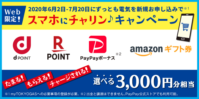 東京ガスの電気「スマホにチャリン♪キャンペーン」3,000円分相当のポイントorギフトカードをプレゼント
