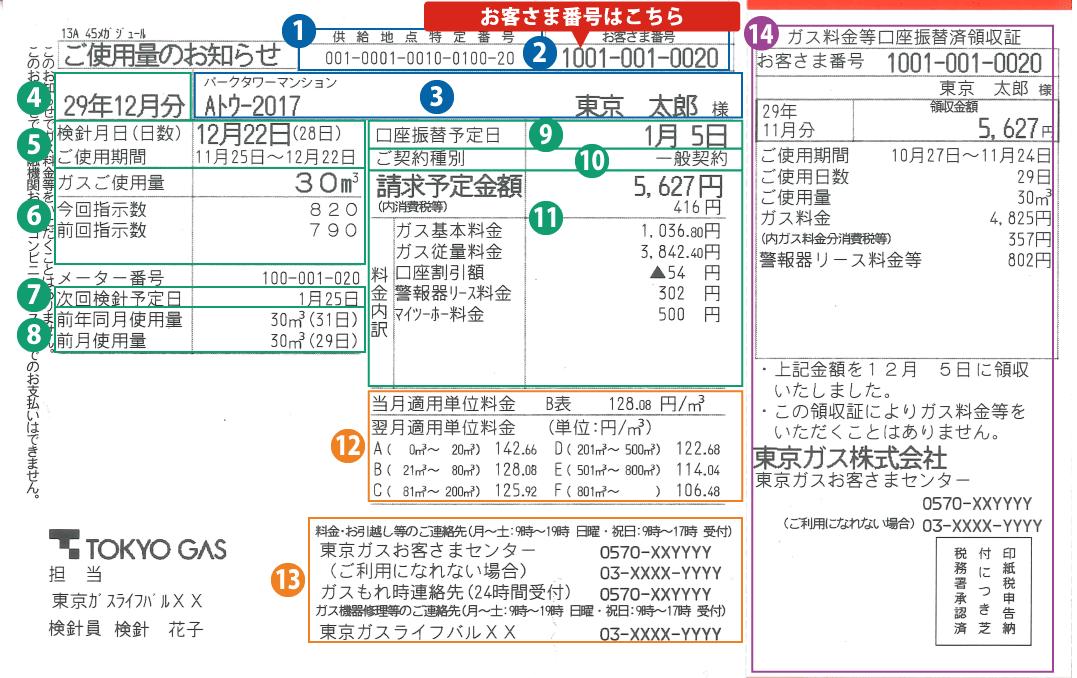 東京ガス検針票