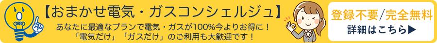 登録不要/完全無料【おまかせ電気・ガスコンシェルジュ】あなたに最適なプランで電気・ガスが100%今よりお得に! 「電気だけ」「ガスだけ」のご利用も大歓迎です!