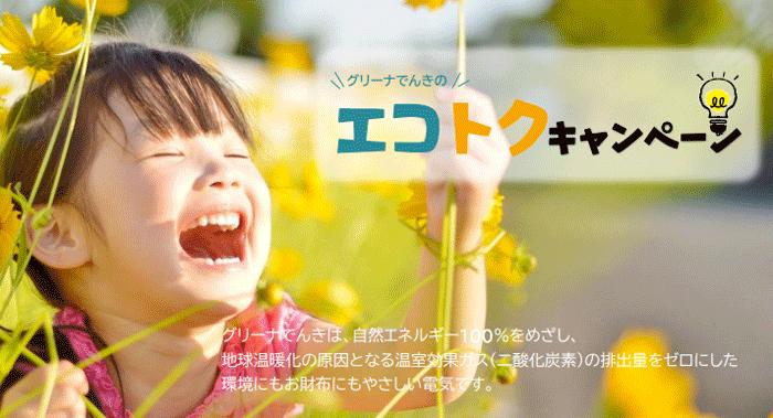 【GREENaでんき】グリーナでんきのエコトクキャンペーン