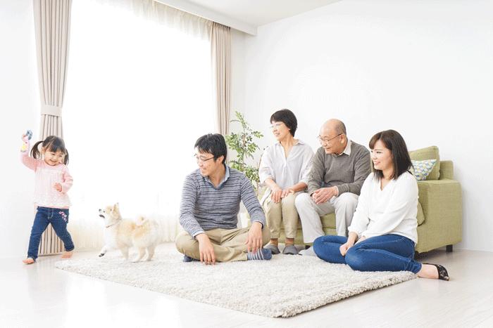 ペットと家族の団欒