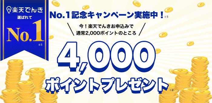 楽天でんきNo.1受賞キャンペーン!今!楽天でんきにお申込みで通常2,000ポイントのところ4,000ポイントプレゼント!(2020年8月3日10:00〜2020年10月2日09:59)