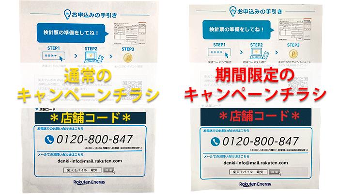 楽天モバイル店舗でもらえる楽天でんきの招待コード(店舗コード)が記載されたキャンペーンチラシ(裏面)