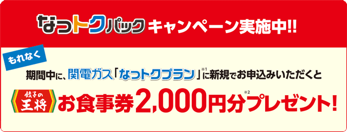 関西電力なっトクパックキャンペーン!餃子の王将お食事券2,000円分プレゼント(2021年1月31日(日)まで)